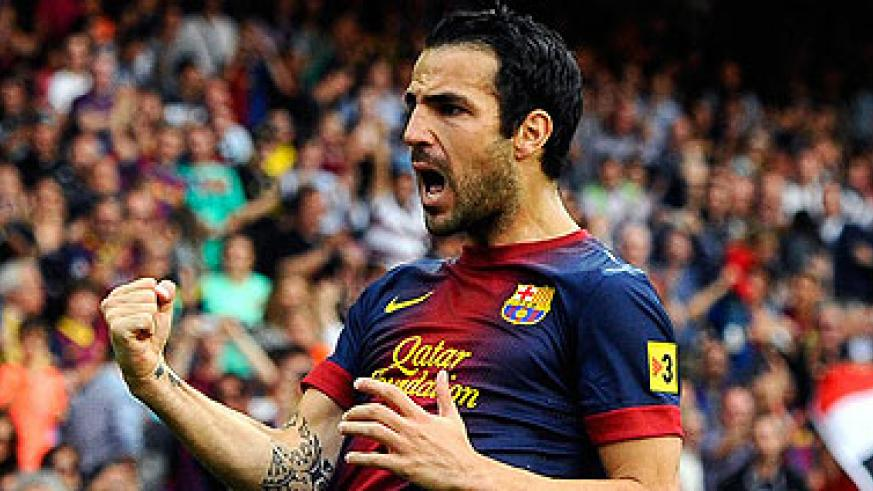 Cesc Fabregas- Barcelona midfielder wants to stay at club says team-mate Gerard Pique. Net photo.