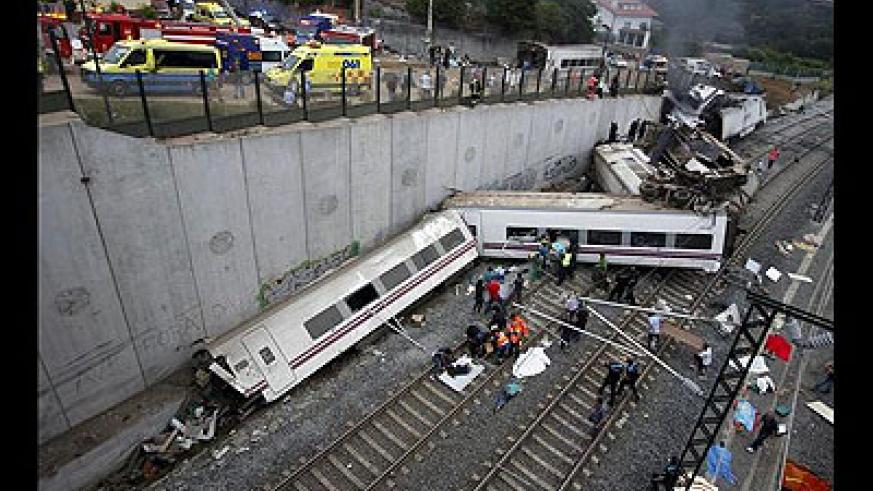 At least 77 people were killed and 130 injured when a train derailed near the northern Spanish city of Santiago de Compostela in one of Europe's worst rail disasters.
