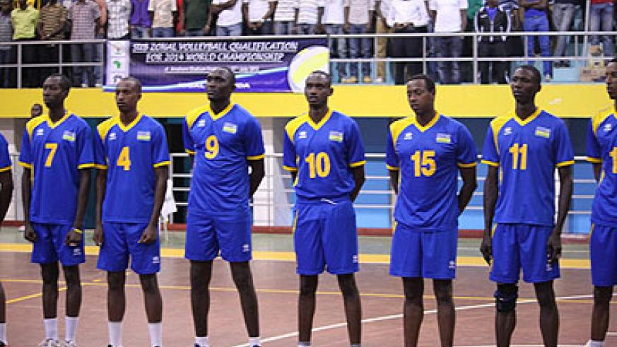 Rwanda's national team before the start of Thursday's match against the African champions, Egypt. Saturday Sport / Courtsey.