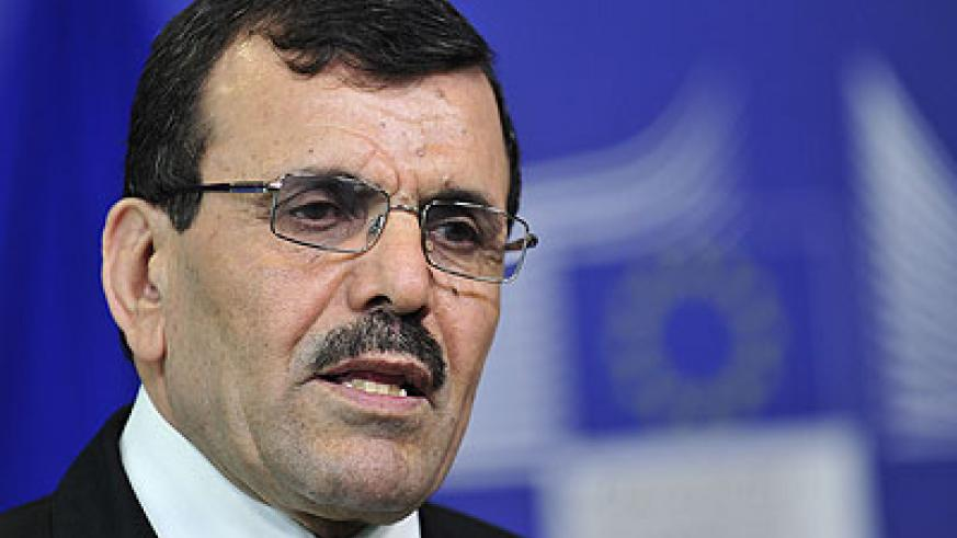 Prime Minister of Tunisia Ali Larayedh speaks yesterday during a press conference at EU headquarters in Brussels. (Xinhua)