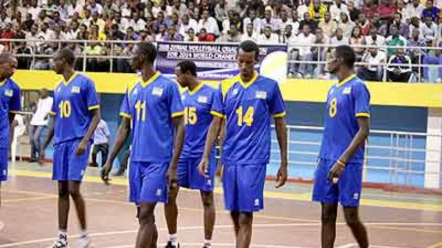 Rwanda team getting to the court for the first match on Thursday. They were beaten 3-0 by the African champons. Times Sport/ Courtesy.