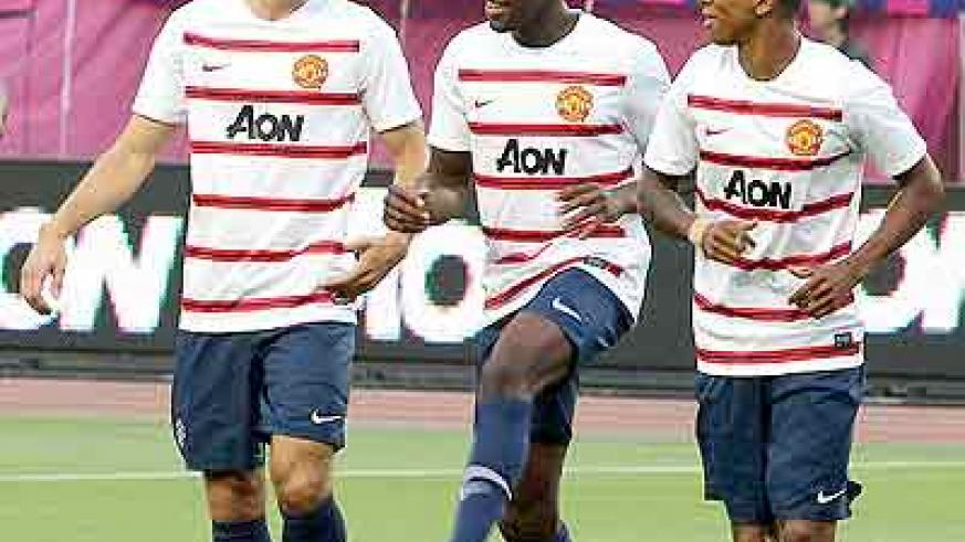 Van Persie, Danny Welbeck and Ashley Young were put through their paces.  Net photo.