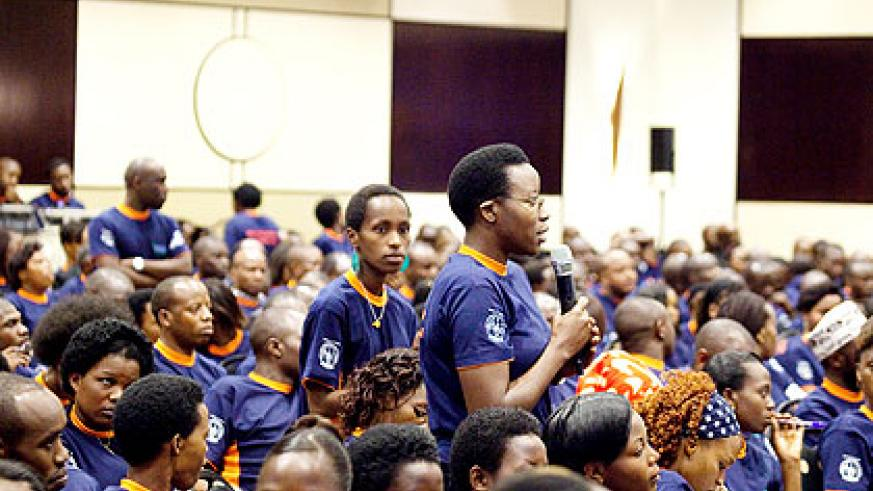 A youth contributes during the Youth Connekt dialogue in Kigali last month. The New Times/ File.