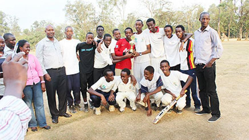 Champions Kagarama SS pose for a group photo after winning the 2013 Schools boys crciket week on Tuesday, they beat Efotec SS by 9 wickets in the final. Times Sport / Courtesy
