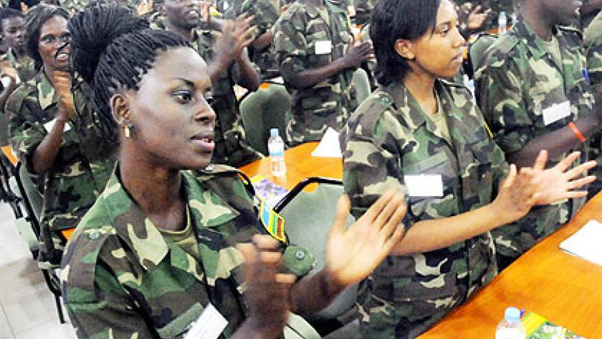 A section of the students attending the two-week civic education programme at Rwanda Military Academy. The New Times/ J. Mbanda.