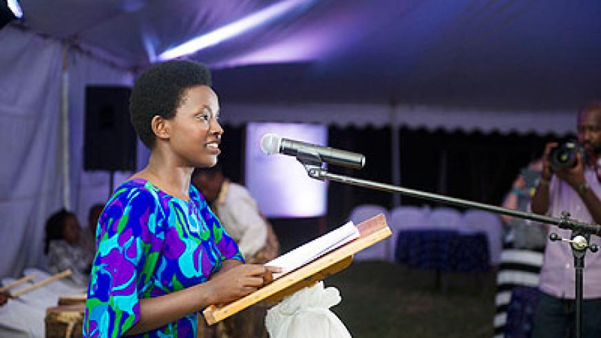 Gloriose Isugi, one of the participants, contributes during the Girls Learning Summit in Kigali yesterday.  The New Times/ Courtesy.
