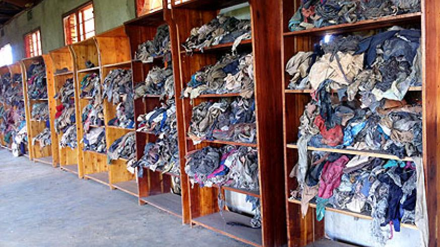 Clothes and shoes belonging to Genocide victims at Murambi Memorial  Centre. These evidences of Genocide against the Tutsi were exhumed from mass graves.  The New Times/ File.