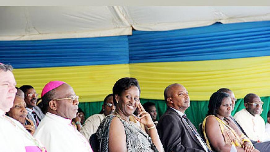 <p>FROM LEFT: Nonce apostolique Ruciano Ruso, Monsignor Jean Damascene Bimenyimana, First Lady Mrs. Jeannette Kagame, Western Province Governor Celestin Kabahizi and the Minister in th....