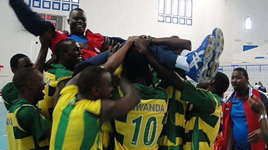 The junior national team celebrating with Bitok after finishing third in African Championships held in Tunisia in March this year. Times Sport/File