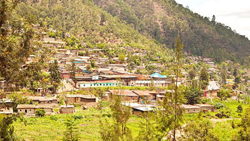 Houses built in high-risk zones on the slopes of a hill. Such settlements are susceptible to mudslides during heavy rains. The New Times/Timothy Kisambira.