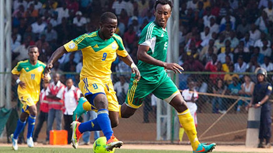Amavubi striker Michel Ndahinduka seen here in action against Ethiopia in a recent  CHAN qualification match. Rwanda lost 6-5 on penalties after a 1-all draw aggregate in Kigali. The N....