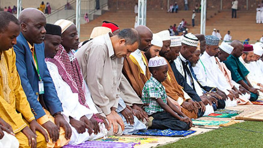 Acting Mufti Kayitare leads Eid el-Fitr prayers yesterday. The New Times/ Timothy Kisambira.