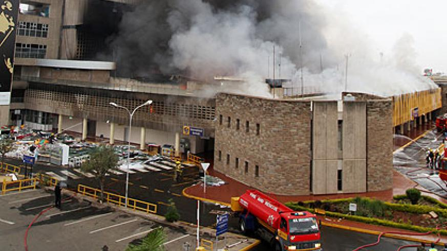 An early Wednesday morning fire at the arrivals terminal at JKIA.  The New Times, File
