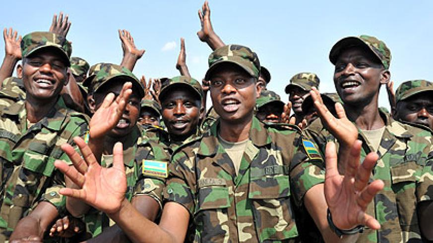 RDF soldiers sing patriotism songs. The New Times/ Timothy Kisambira.