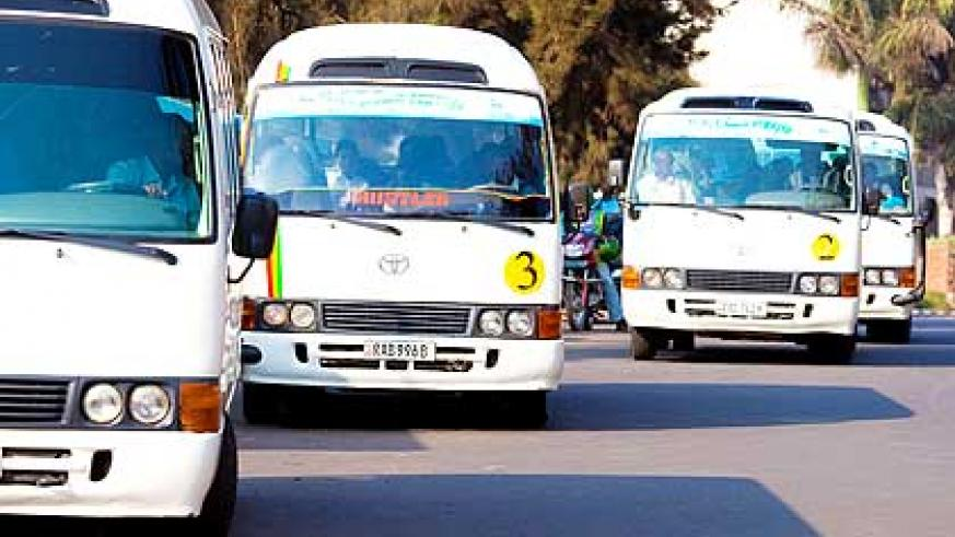 Buses operating in the city. The City of Kigali has contracted three firms to manage zonal routes in Kigali. The New Times/ File.