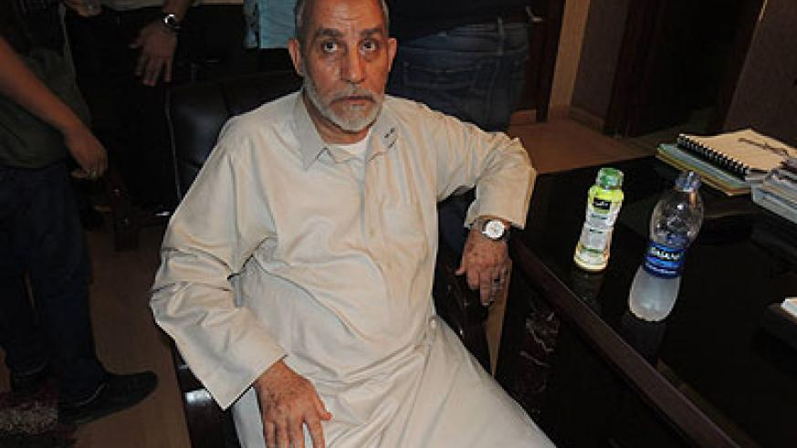 Egypt's Interior Ministry published this photograph of Badie after his arrest on its Facebook page. Net photo.