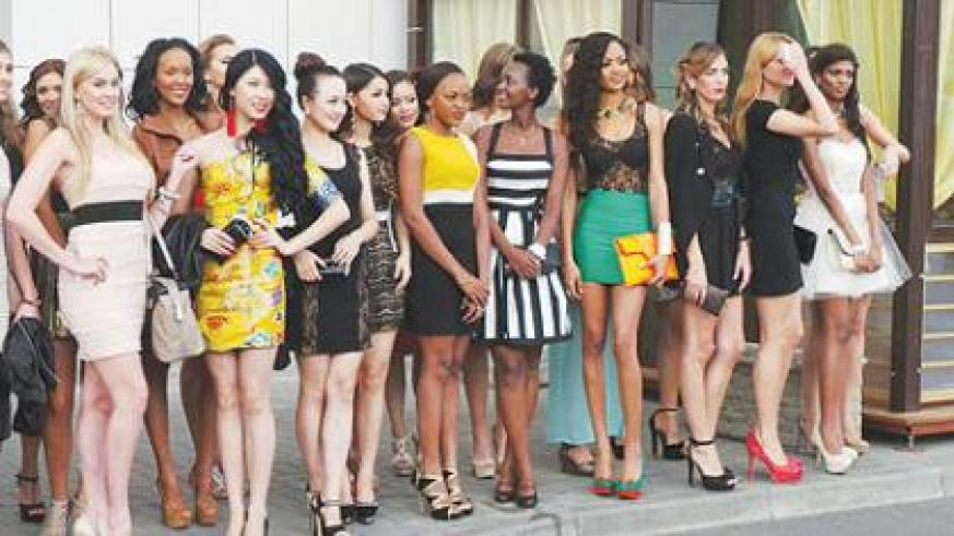 Miss Rwanda 5t from left and other contestants.