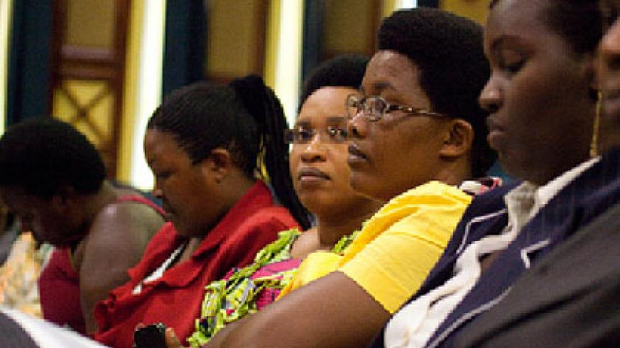 Some of the women candidates during a meeting with NEC officials. The New Times/ Timothy Kisambira.