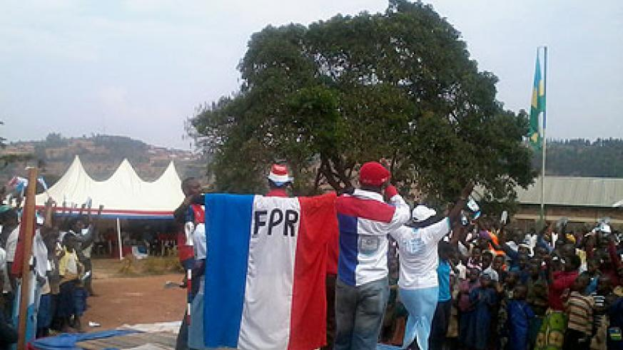 Supporters fire up the crowd during campaigns yesterday.  Saturday Times/By Jean Pierre Bucyensenge.