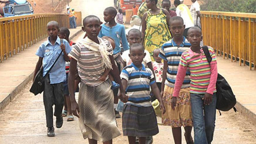Children form 75 per cent of the returnees at Kinazi camp.  The New Times/S. Rwembeho.