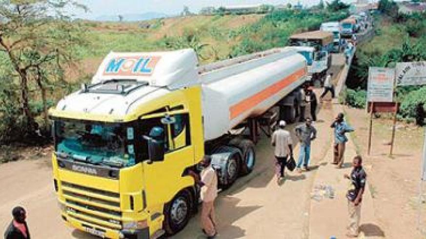 Cargo transporters wait to clear at customs post. When the single custom territory is implemented, such long lines will cease. The New Times / File photo