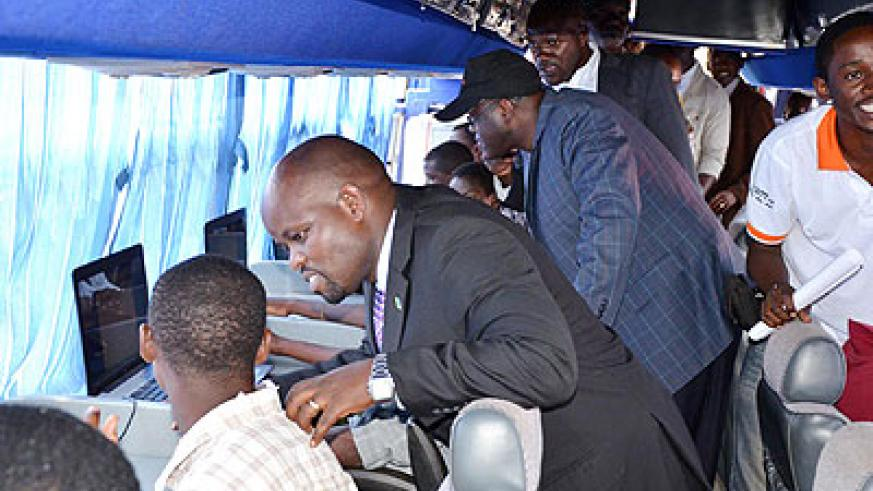 The Minister for Youth and ICT, Jean P. Nsengimana, at a launch of an ICT facility. The New Times/ File.