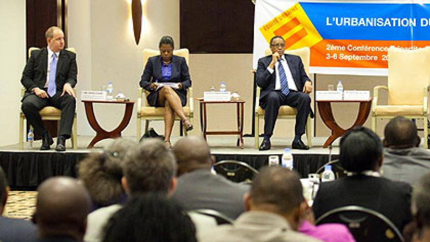 A panel discussion at the UN Habitat conference on urbanisation in Kigali yesterday. The New Times/ Timothy Kisambira.