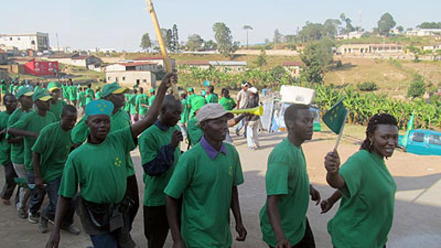 PL party supporters in Kigali on Monday.  The New Times/ John Mbanda.