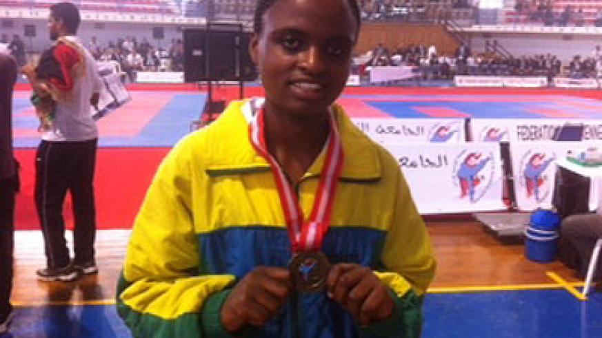 Solange Ingabire is one of the four karatekas, who won bronze medals in Tunis. The New Times / Courtesy.