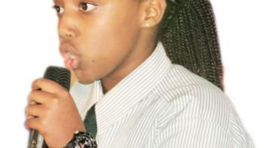 A Green Hills Academy student debates during the competition. The New Times/ Courtesy.