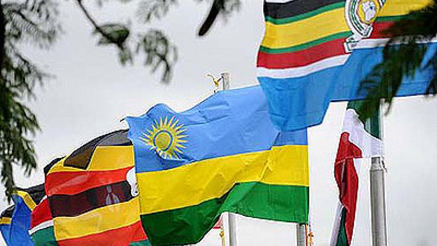 East African Community flags at the EAC Secretariat in Arusha.  The New Times /File.