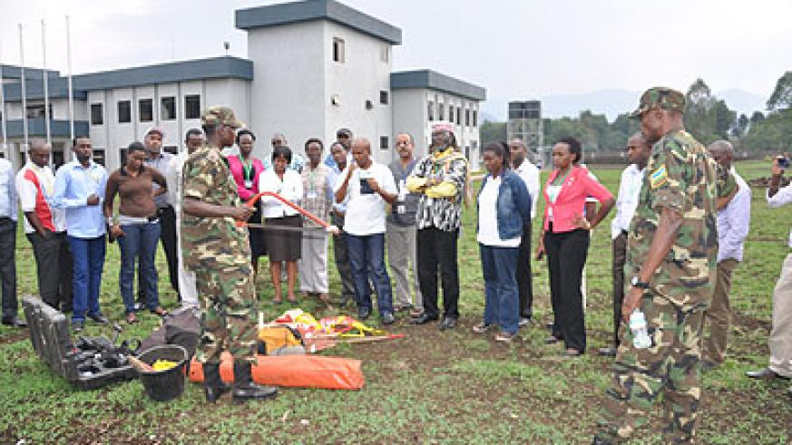 Participants are taken through one of the training sessions on mine awareness before the end of the course. The New Times courtesy