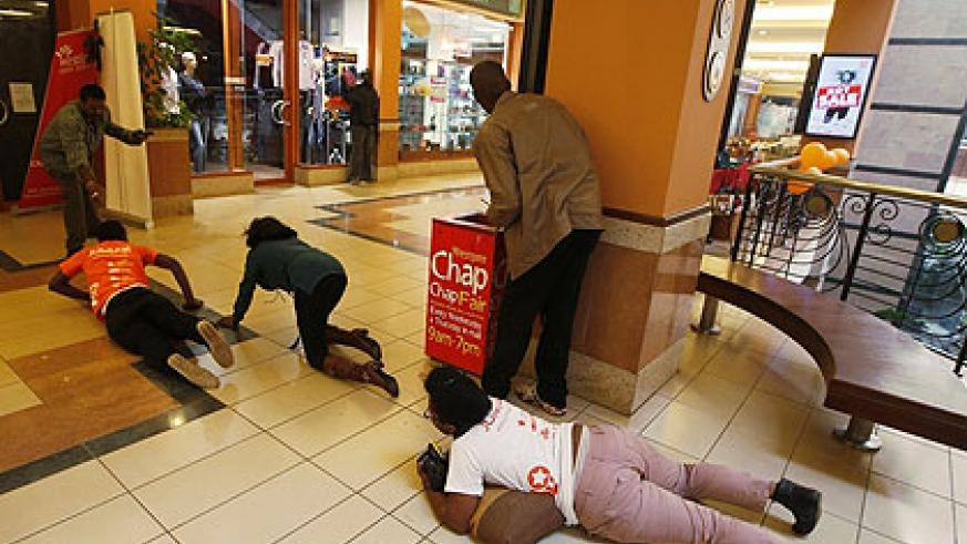Some of the people in the mall scrambled for safety while police tried to find the shooters.   Net Photo,