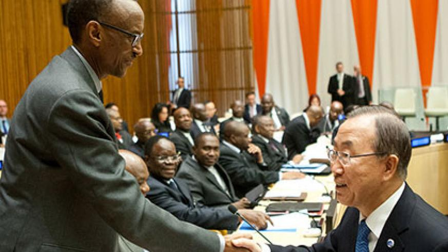 UN Secretary-General Ban Ki-moon welcomes President Kagame to the High Level Meeting on the DRC Framework at the United Nations headquarters in New York yesterday. The New Times/Village Urugwiro