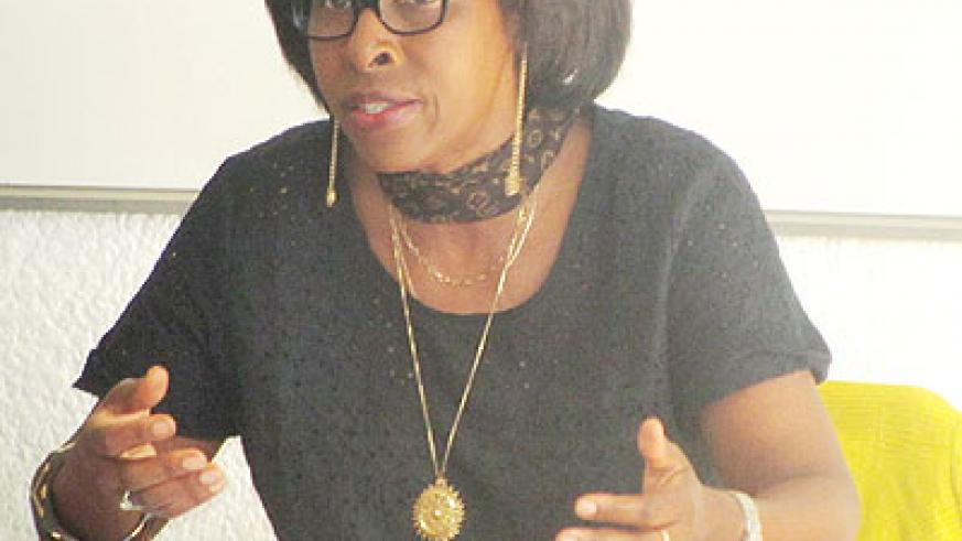 Mukasonga during her interaction with Green Hills Academy Grade 11 and 12 students. The New Times/ Courtesy.