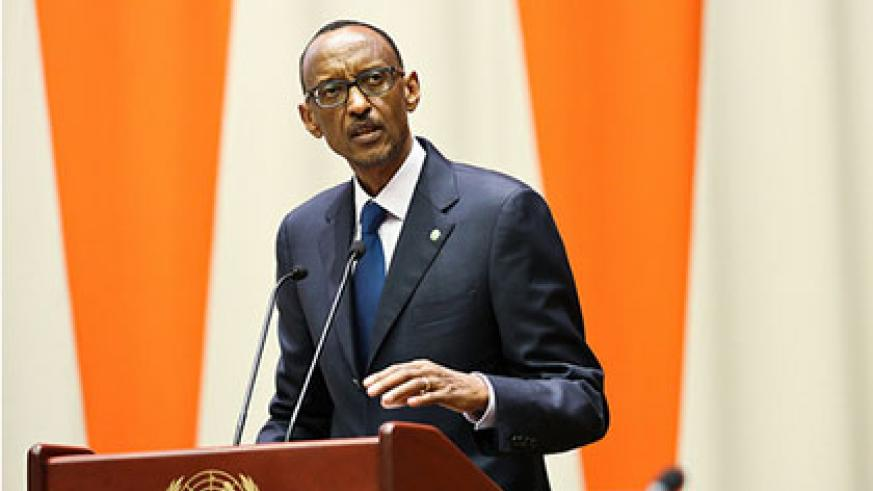 President Kagame addresses the MDGs Advocacy Group in New York yesterday. The New Times/Village Urugwiro