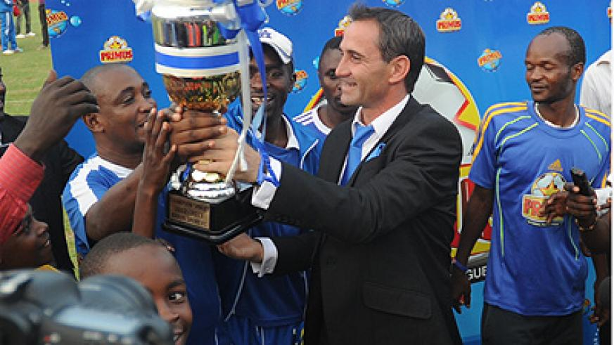 Didier Gomez Da Rosa (centre) has endeared himself to the Rayon Sports' fans after helping the club win the league title after an eight-year drought. Times Sport /T. Kisambira.