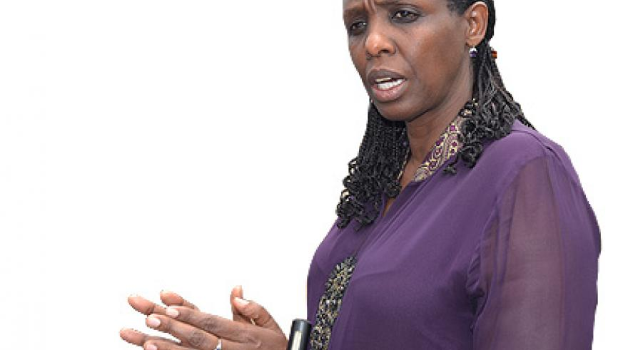 Minister Agnes Kalibata during a previous interview in Rulindo,  where she urged farmers to uproot maize attacked by disease.  Saturday Times/ File.