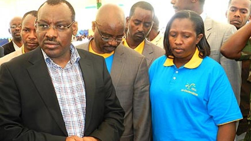 Minister Gatete (L) accompanied RRA officials and  Eastern Province governor Odette Uwamariya (R) during Tax payers' day celebrations in Nyagatare District on Saturday. The New T....