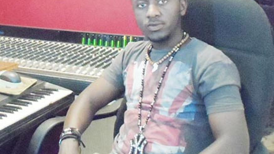 Umuhoza in his music studio. The New Times/ Collins Mwai.