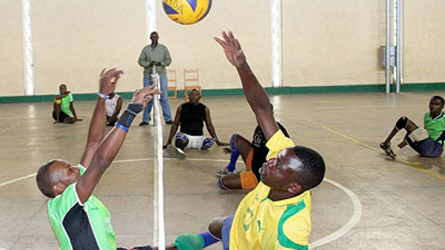 Rwanda national Sitball team, led by Jean Bosco Ngizwenimana  (right), during a training session early this week. Times Sport/ Courtesy.