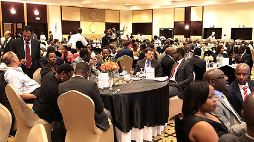 Some of the participants of the Uganda-Rwanda Business gala dinner in Kigali yesterday.   Saturday Times/ John Mbanda.