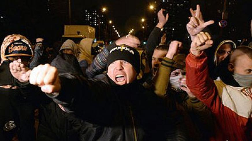"""Protesters targeted migrants, chanting """"Russia for the Russians"""". Net photo."""