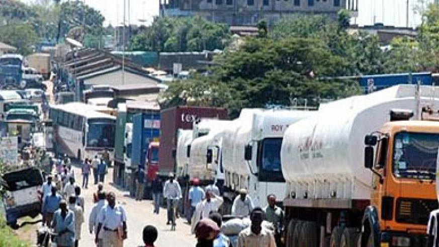 Cargo trucks and fuel tankers line up at Malaba border. Delays at border posts are a major concern among the business community. The New Times / File