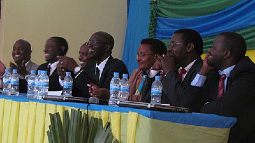 Reb officials and education stakeholders during the meeting. The New Times/ Susan Babijja.