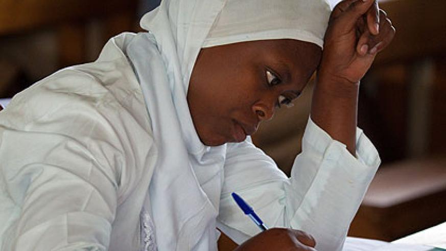 A TVET student during national exams at ASPEJ Technical School in Rwamagana District yesterday. The New Times/Timothy Kisambira