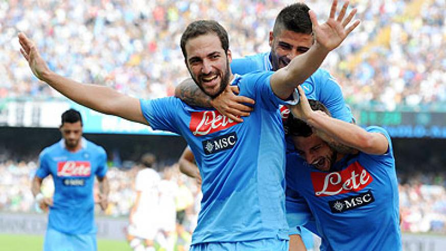 Gonzalo Higuain, who scored twice in the Champions League win over Marseille on Wednesday, will lead a stellar Napoli forward line. Net photo