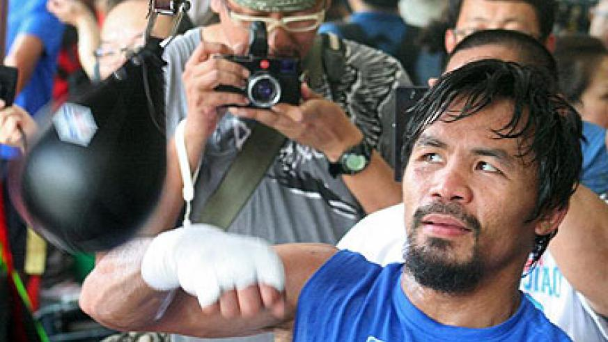 Manny Pacquiao during a training session in prepration for the fight. Net photo
