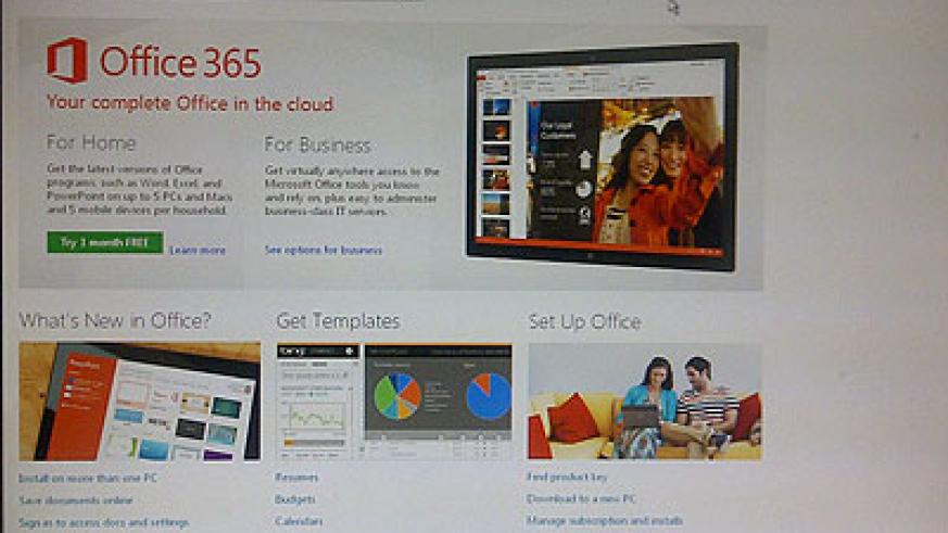 The Office 365 website, which allows a user to create an account and start working 'on the cloud'. The software is touted as a new business game-changer. The New Times / Ben Gasore