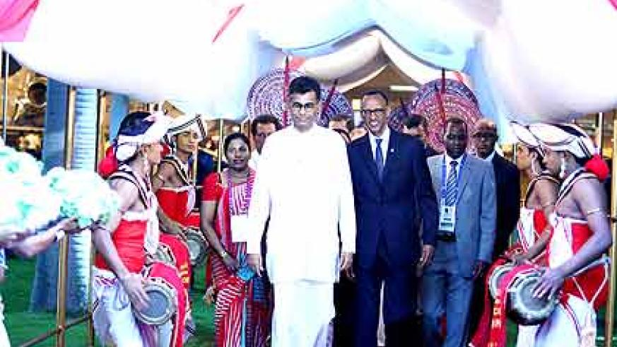 President Kagame is received by Patali Champika Ranawaka, the Sri Lankan minister for technology, research and atomic energy in Colombo, where he will attend Chogm 2013. The New Times/ Village Urugwiro.